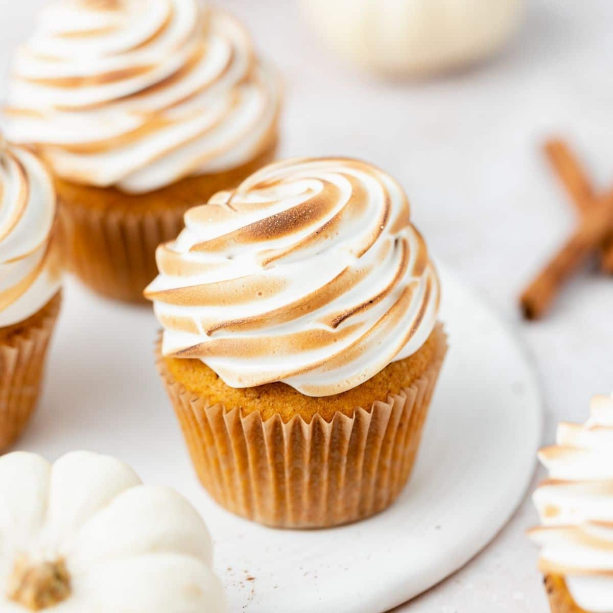 close up of pumpkin meringue cupcakes