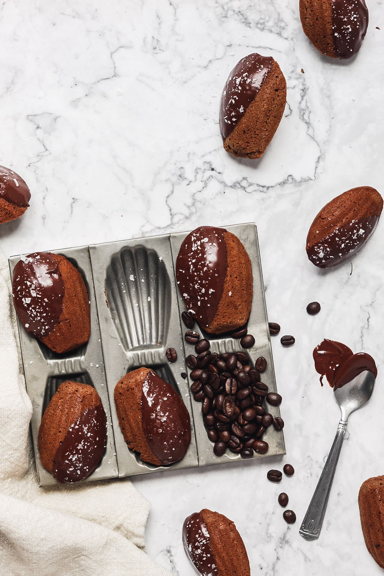 chocolate espresso madeleines in madeleine pan