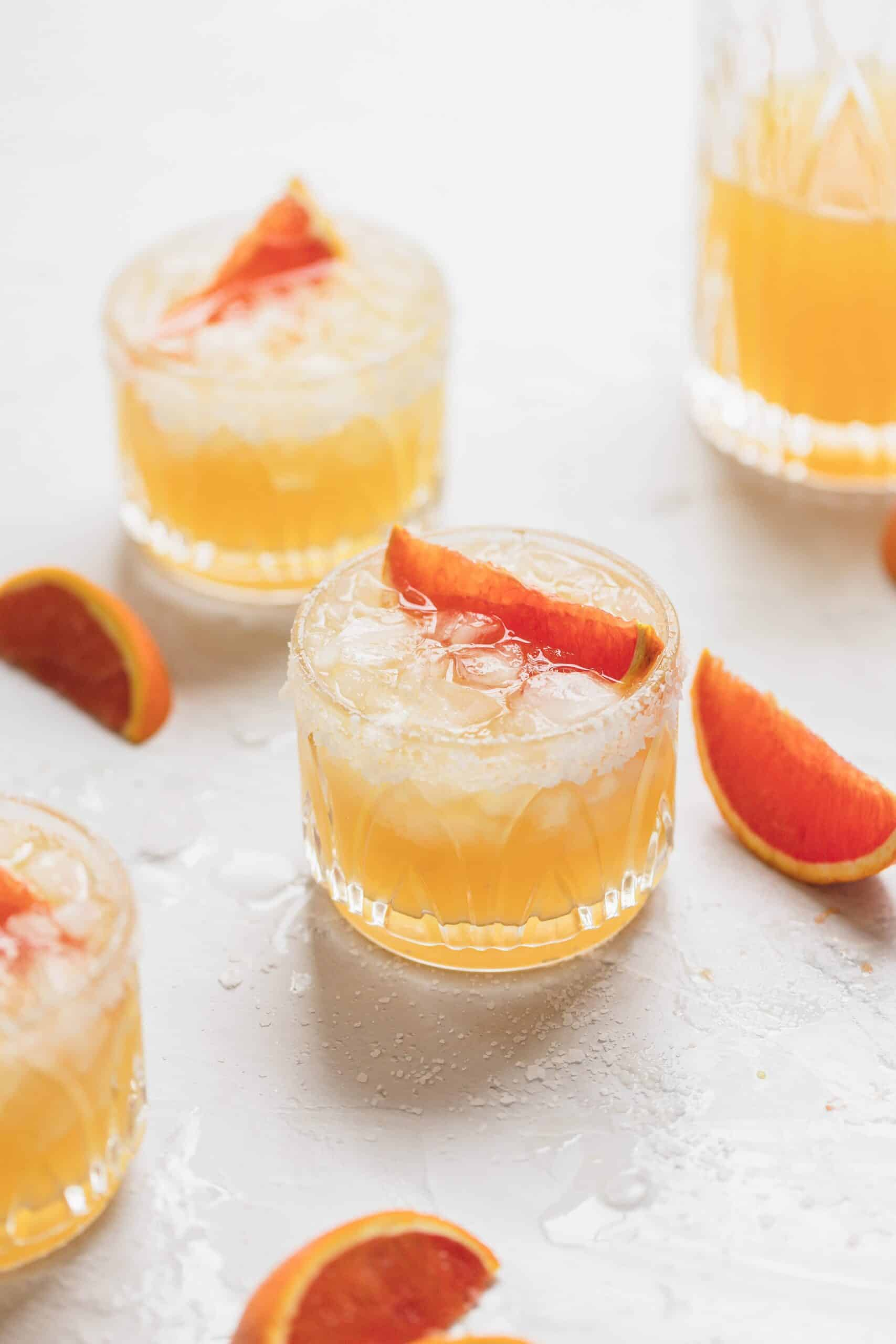 cara cara orange margaritas in three glasses