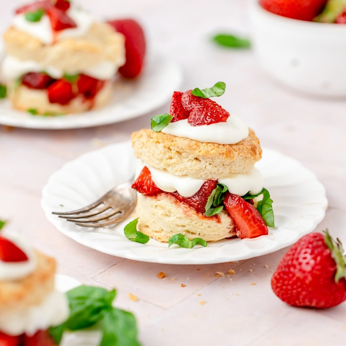 balsamic roasted strawberry shortcake with whipped cream