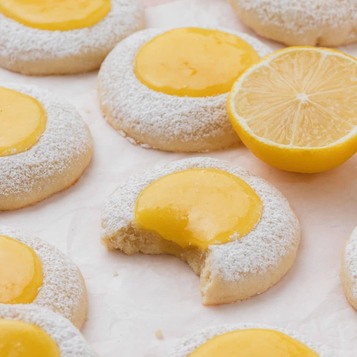 close up shot of lemon curd cookies
